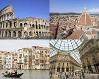 ローマ、フィレンツェ、ベネチア、ミラノ