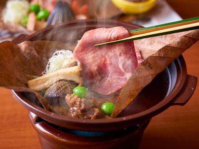 【9/1~11/30】秋の料理フェアイメージ【スタンダード会席】(仙台名物牛タンの朴葉焼)
