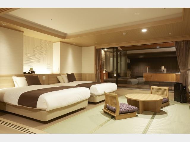 露天風呂付客室「山水亭」の一例