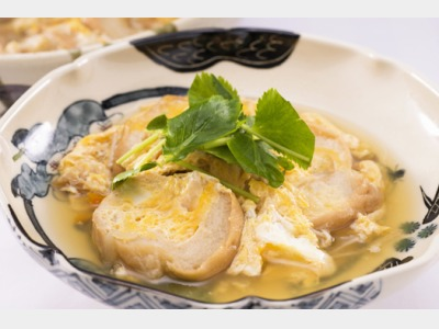 朝食一例 :加賀車麩卵とじ