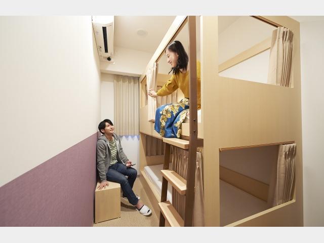 全室カードキー完備のプライベートルーム。子供の頃を思い出す2段ベッドルーム。あなたは上下どっち派??
