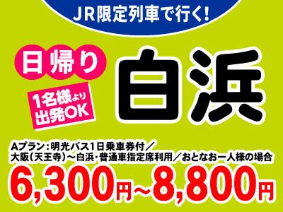 白浜エリアの移動に便利な明光バス1日乗車券付!