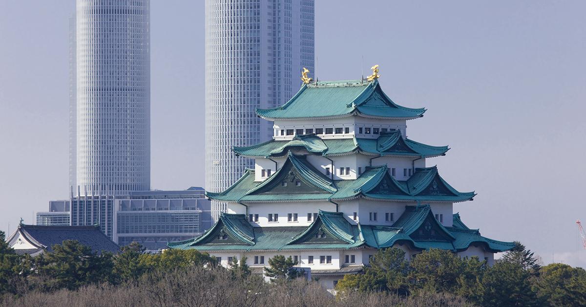 名古屋城と名古屋駅ツインタワー