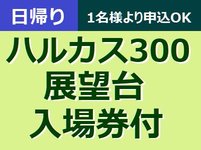 6月・日帰り大阪【あべのハルカス ハルカス300展望台入場券付】1名様よりお申込みOK