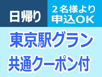日帰り東京【東京駅グラン共通クーポン付】2名様より申込OK