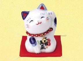 染錦ひとまねき猫(鈴付)/招き猫ミュージアム